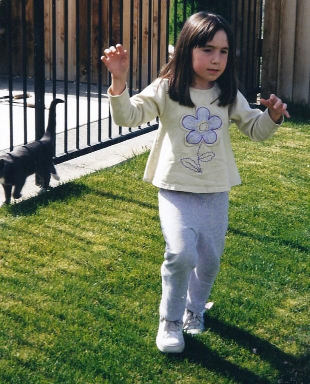 Chloe walks at age 7